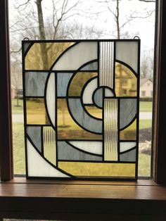 Stained Glass Panel – Arts and Crafts Stained Glass Light, Stained Glass Designs, Stained Glass Projects, Stained Glass Patterns, Stained Glass Windows, Modern Stained Glass Panels, Stained Glass Quilt, Modern Glass, Modern Art