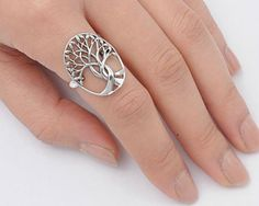 Handcrafted .925 sterling silver tree of life ring Face Height: 24 mm (0.94 inch) Hallmark 925