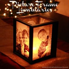 Picture Frame Luminaries: Supplies Needed: (4) 5 x 7 frames (I found mine at my local Dollar Tree), Gorilla Glue or other strong adhesive, 2 sheets of 8.5 x 11 Vellum, Home printer, Family photos, Square mirror (I also found these at my local Dollar Tree), Tea Light Candles.