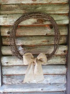Barb wire wreath with burlap bow