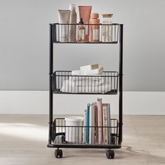 The solution to tight spaces? This handy storage cart. It's made from sturdy steel and comes with three baskets that can fit it all, from beauty and bath essentials to school supplies. The four casters on the bottom make it easy to move around your space.  Pottery Barn Teen Rectangular Wire Cart