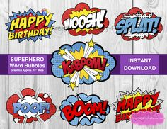 Free Superhero Printables – Planning a Superhero Party?  Download lots of free party printables including invitations, party labels, superhero bubbles, coloring pages, masks, capes, templates, props.