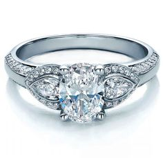 LOVE. Oval Diamond Engagement Ring Pear side stones in 14K White Gold