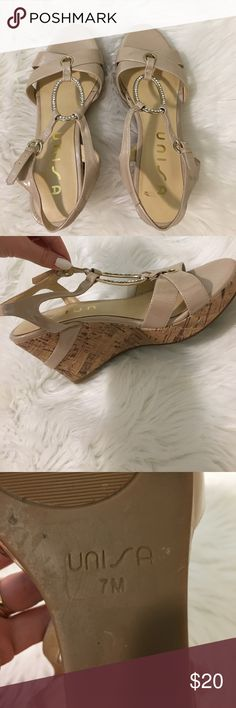 Nude Wedges👡✨🎀 There very comfy wedges! There a nude/pinkish shade. It has a dimond oval shape in the middle. You buckle them around your ankle.✨🎀 there 3 inch heels! BARLEY WORN! Shoes Wedges