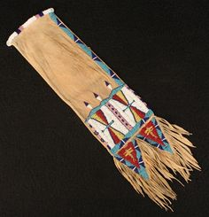 Antique american sioux plains indian old beaded leather medicine man's pipe bag