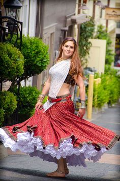 Ikat Gopi Skirt Outfit – Amazing Red