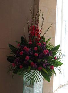 pulpit flower arrangements | church wedding floral arrangement