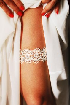 Bridal Garter Wedding Garter  Ivory Garter Belt  by NAFEstudio