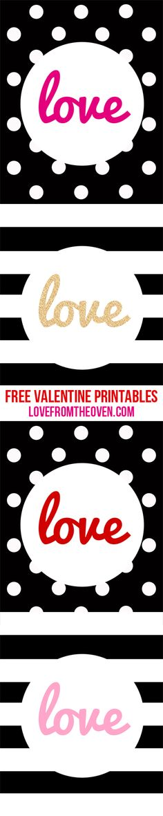 Free Valentine's Day Printables...Print as 8x10 or 16x20, put into a frame and display! Black and white stripes and black and white polka dots.