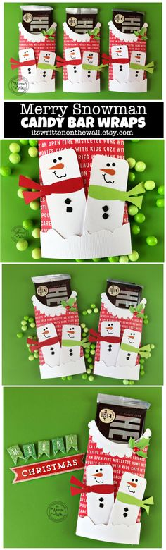 Snowman Candy Bar Wrappers, for your Co-Workers Employees, Party Favors,  Stocking stuffers, Christmas chocolates, Snowman treats, Merry Snowman Chocolate Wrappers, Christmas gifts for Teachers, Teacher Appreciation Christmas gifts