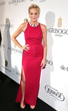 Sharon Stone goes for a colorful look in this vibrant raspberry Roberto Cavalli dress.