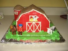 Homemade Down on the Farm Cake: I made this Down on the farm cake for my son's 1st birthday. We made 4 - 9 square cakes and stacked 3 of them up for the barn, then some smaller pieces