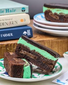 Thin Mint Ganache Brownies by Southern Fatty.    Thin Mint cookies in brownies, topped with mint buttercream and chocolate ganache. Perfect for St Patrick's Day!