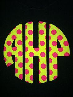 DIY Iron on Applique - - - - Circle Monogram ------3 letter monogram on Etsy, $4.00