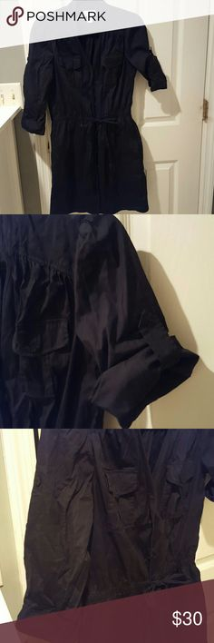 Cotton Shirt Dress Navy shirt dress with front pockets, side pockets; sleeves that can be rolled & cuffed, or left at 3/4 length; tie at waist; his right above knee LOFT Dresses