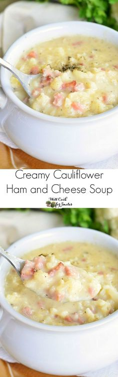 Creamy Cauliflower H Creamy Cauliflower Ham and Cheese Soup. Creamy Cauliflower H Creamy Cauliflower Ham and Cheese Soup. Made with cauliflower ham and white cheddar cheese this soup is hearty enough without having any pasta or potatoes packed in it. Ketogenic Recipes, Low Carb Recipes, Cooking Recipes, Healthy Recipes, Ketogenic Diet, Crockpot Recipes, Vegetarian Recipes, Low Carb Soups, Ham Bone Recipes