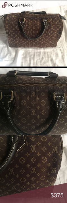 LOUIS VUITTON Mini Lin Speedy 30 Ebene Pre-loved 💝 Hardware is a little scratched and there are slightly darkened areas of fabric. It could use a professional cleaning. 🛍 Purchased used from Fashionphile.com in 2010 and the site guaranteed authenticity. 🙊 No trades please! Louis Vuitton Bags Satchels