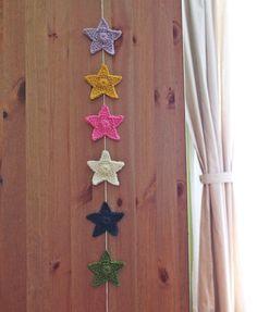 Crochet Garland  Coloured Stars by matemo on Etsy, €10.00