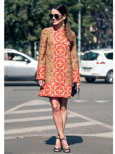 Marilia Queiroz Dolce & Gabbana coat, Jimmy Choo shoes, Chanel bag, Giorgio Armani glasses  Street Style at Spring 2014 Milan Fashion Week - MFW Street Style Pictures - Marie Claire