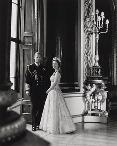 Prince Philip, Duke of Edinburgh; Queen Elizabeth II by Lord Snowdon bromide print, 10th October 1957