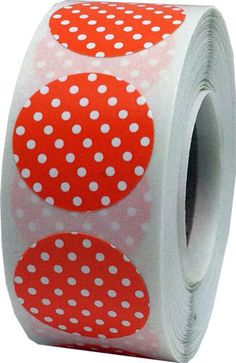 Orange Stickers with White Polka Dots  0.75 Inch by TheDotSpotLane
