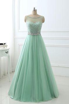 Beaded mint green chiffon prom dress, modest prom dress, long prom dress for teens