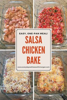 Salsa Chicken Bake - Everyday Wellness - Easy one-pan Salsa Chicken Bake! Easy one-pan Salsa Chicken Bake! Easy one-pan Salsa Chicken Bake! Mexican Food Recipes, New Recipes, Cooking Recipes, Favorite Recipes, Healthy Chicken Bake Recipes, Recipies, Steak Recipes, Cooking Ideas, Cooking Tools