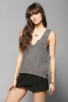 BDG Vintage-Washed Shaker Sleeveless Sweater