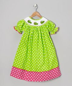 Take a look at this Lime Polka Dot Crocodile Bishop Dress - Infant, Toddler & Girls by Helene's Closet on #zulily today!