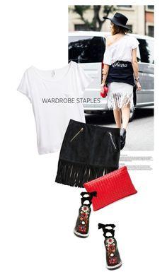 """White T-shirt"" by magdafunk ❤ liked on Polyvore featuring H&M, Barbara Bui, Fendi, Bottega Veneta, StreetStyle, fringeskirt, WardrobeStaples and spring2016"