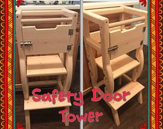 learning helping stool Adjustable Two Levels (PLAIN WOOD) with Engraving or Safety Door option Toddler Kitchen Stool, Kitchen Step Stool, Kids Stool, Woodworking For Kids, Woodworking Projects, Bebe Shower, Childrens Kitchens, Learning Tower, Wood Stool