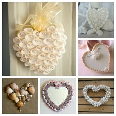 Sally Lee by the Sea Coastal Lifestyle Blog: Seashell Hearts / My favorite is the lower left heart on the sandy background! I may have to make this for our wall!