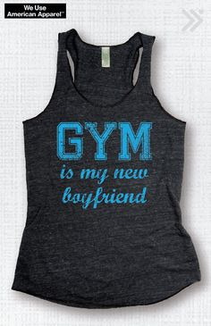 SALE!! SMALL GYM Is My New Boyfriend Charcoal / Turquoise Funny Workout Tank Workout Top Fitness Tank Gym Tank Workout Tee Exercise Top