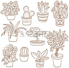 Doodle Set Of Pot Plants And Flowers Royalty Free Cliparts, Vectors, And Stock Illustration. Easy Doodle Art, Doodle Art Drawing, Plant Drawing, Bullet Journal Art, Bullet Journal Ideas Pages, Cactus Doodle, Plant Tattoo, Small Canvas Art, Flower Doodles