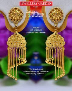 Gold Jhumka Earrings, Indian Jewelry Earrings, Gold Bridal Earrings, Bridal Bangles, Nose Jewelry, Gold Earrings Designs, Gold Jewellery Design, Bridal Jewelry, Small Necklace