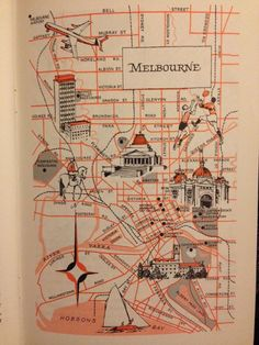 Melbourne Map Decor / City of Melbourne Australia / Vintage Map Print / 1970 Retro City Map Art / Old Map Illustration / World Travel Decor by HildaLea on Etsy