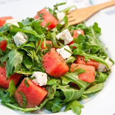 Watermelon, Feta, Arugula and Mint Salad