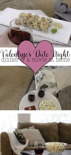 Check out this super easy Valentine's Date night idea. Do dinner and a movie at home and save money and your sanity by avoiding the crowds. Pick a fun movie and enjoy yourself at home!   Easy Valentine's Date Night Idea: Dinner and a Movie at Home http://