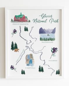 New article alarm! This glacier print is the first in my collection of map art. New article alarm! This glacier print is the first in my collection of map art. The rest of the pri Glacier National Park Map, National Parks Map, Watercolor Artwork, Watercolor Print, Holiday Homework, Woodland Nursery Decor, My Collection, Map Art, State Art
