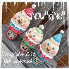 """Snow""""kins"""" - by Deb Antonick, Painting With Friends E Pattern Christmas Projects, Christmas Themes, Christmas Decorations, Christmas Printables, Holiday Ideas, Halloween Decorations, Crafts To Do, Arts And Crafts, Clay Crafts"""