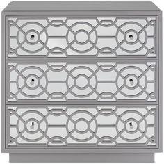 Modern Geo Mirrored Chest - gray finish Dovetail Furniture, Grey Furniture, Unique Furniture, Online Furniture, Painted Furniture, Furniture Storage, Three Drawer Dresser, Dresser With Mirror, Grey Dresser