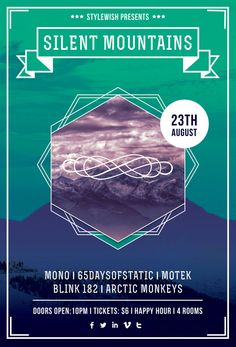 Silent Mountains Flyer by ~styleWish on graphicriver. Fully editable .PSD