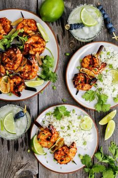 """Grilled Margarita Shrimp Kebabs are loaded with flavor and charred to perfection. They promise to be the star of your summertime grilling! Please Click """"Next""""or """"Open""""To Rea… Easy Grilled Shrimp Recipes, Best Shrimp Recipes, Grilled Shrimp Skewers, Seafood Recipes, Cooking Recipes, Healthy Recipes, Fish Recipes, Prawn Skewers, Lasagna Recipes"""