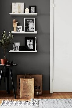 Where there is simplicity there is beauty ikea mosslanda, ikea shelves, whi Ikea Shelves, White Shelves, Floating Shelves, Wall Shelves, Ikea Mosslanda, My Living Room, Home And Living, Home And Deco, Grey Walls
