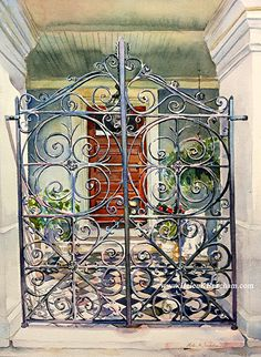 """Charleston Welcome I by Helen K. Beacham  Watercolor ~ I'm a sucker for a great checkerboard floor!  Combine that with some wrought iron, and I was in love!   The image size is 16""""h x 12""""w, and it is framed with a white wooden liner and deep brown frame for a finished size of about 21""""h x 17""""w.  I'm always happy to send you a photo of the frame, so just let me know where to send it.   Shipping (on $300+)  is free to the contiguous United States!  www.helenKbeacham.com"""