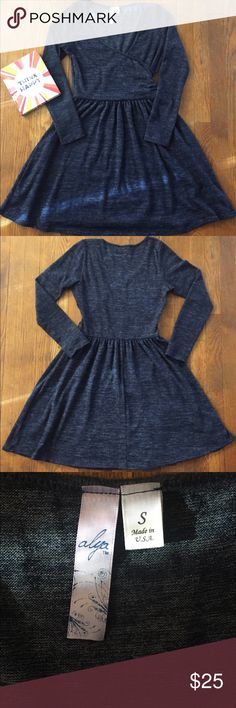 """Blue Francesca's Skater Dress In Great Condition, but no fabric, Bust: 15.5"""" Length: 32.5"""" Feel free to make a reasonable offer! Dresses Long Sleeve"""