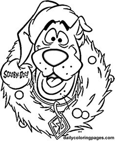 scooby doo wreath christmas coloring pages