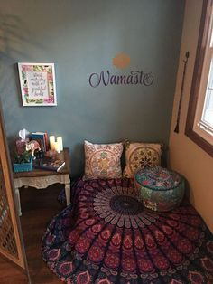 Meditation Corner – Wellness Room – Namaste by Read Meditation Room Decor, Meditation Corner, Meditation Space, Yoga Meditation, Namaste Yoga, Zen Room Decor, Wall Decor, Home Yoga Room, Yoga Rooms