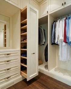 closets - walk-in built-in cabinets vertical pull-out shoe cabinet Amazing walk-. - closets – walk-in built-in cabinets vertical pull-out shoe cabinet Amazing walk-in closet with floor to ceiling creamy white cabinets and vertical Walk In Closet Design, Closet Designs, Master Closet Design, Shoe Storage Walk In Closet, Walk In Closet Organization Ideas, Diy Walk In Closet, Walk Through Closet, Deep Closet, Storage Closets