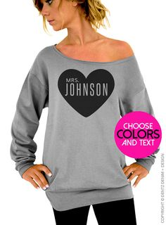Custom Mrs. Sweatshirt. Personalized Bride Sweatshirt. Add Bride's Future Last Name. Customized Shirt & Ink Color. by DentzDesign